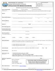 "Form BE-3 ""Application for Brand Recording"" - Montana"