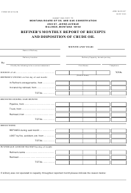 """Form 8 """"Refiner's Monthly Report of Receipts and Disposition of Crude Oil"""" - Montana"""