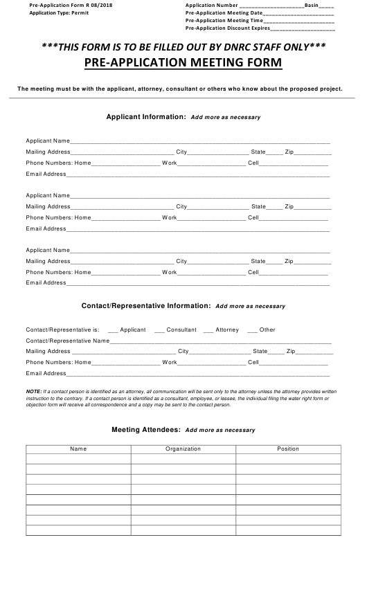 """""""Pre-application Meeting Form - Beneficial Water Use Permit"""" - Montana Download Pdf"""