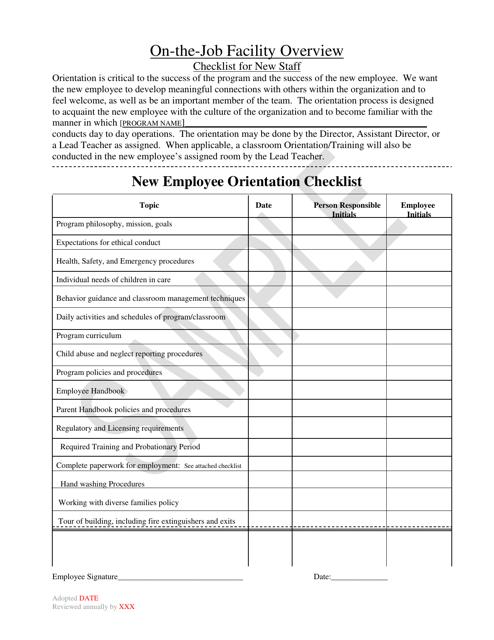 """New Employee Orientation Checklist - Sample"" - Montana Download Pdf"