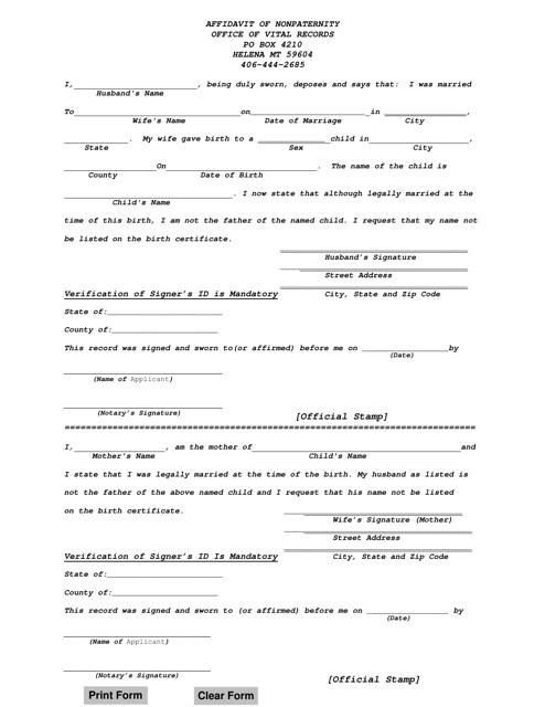 """Affidavit of Nonpaternity"" - Montana Download Pdf"