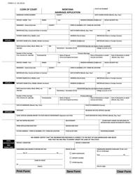 "Form V.S.18 ""Marriage Application"" - Montana"