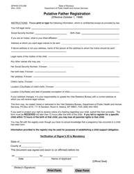 "Form DPHHS-CFS-096 ""Putative Father Registration"" - Montana"