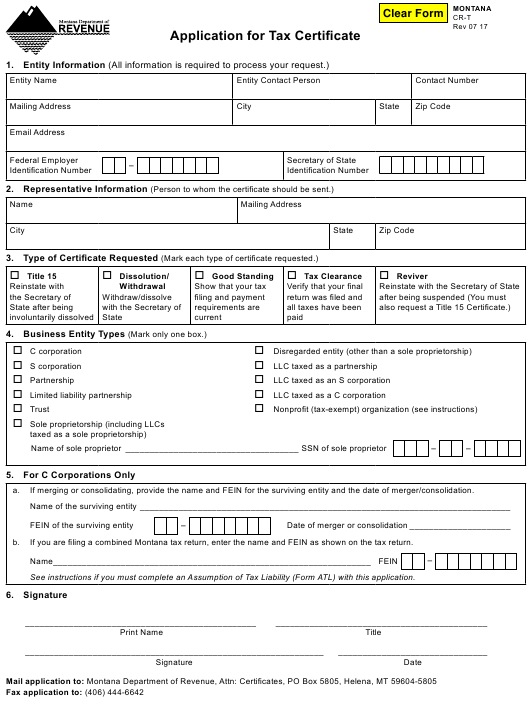 Form Cr T Download Fillable Pdf Or Fill Online Application