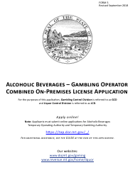 Form 5 Alcoholic Beverages - Gambling Operator Combined on-Premises License Application - Montana