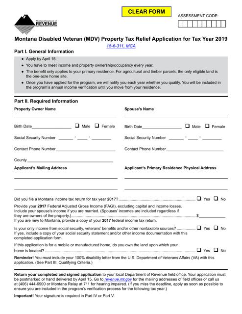 Form MDV 2019 Printable Pdf