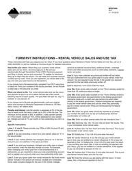 Form RVT Rental Vehicle Sales and Use Tax Return - Montana
