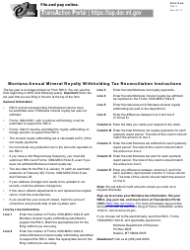 Form RW-3 Montana Annual Mineral Royalty Withholding Tax Reconciliation - Montana
