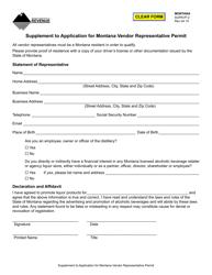 """Form SUPAVP-2 """"Supplement to Application for Montana Vendor Representative Permit"""" - Montana"""