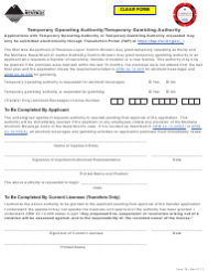 Form TA Temporary Operating Authority/Temporary Gambling Authority - Montana