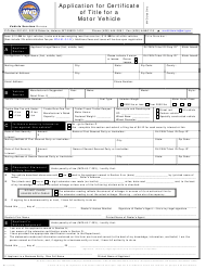 """Form MV1 """"Application for Certificate of Title for a Motor Vehicle"""" - Montana"""