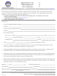 """Form MV11 """"Application for Repossession of a Vehicle"""" - Montana"""