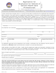 "Form MV104 ""Application for Exemption for Vehicle of Certain Health Care Professionals"" - Montana"