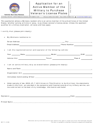 "Form MV111 ""Application for an Active Member of the Military to Purchase Veteran's License Plates"" - Montana"