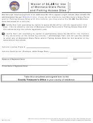 "Form MV119 ""Waiver of $6.18 for Use of Montana State Parks and Fishing Access Sites"" - Montana"