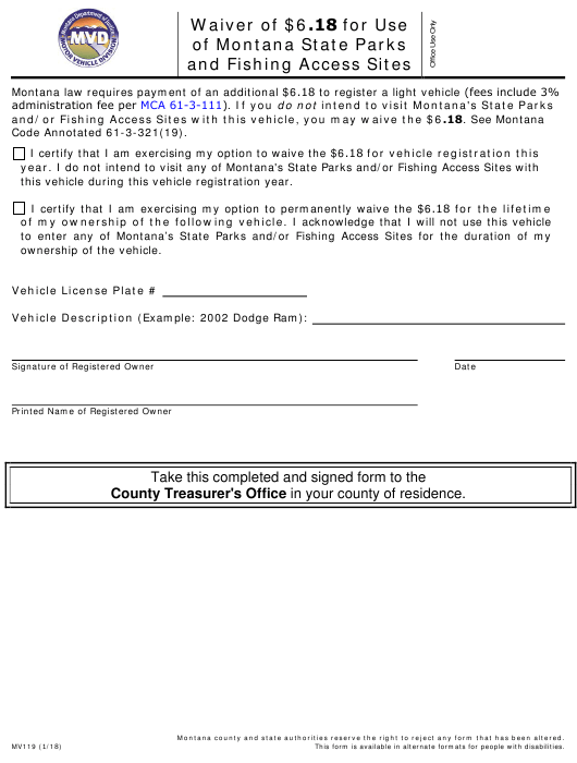 Form MV 119 Download Fillable PDF, Waiver of $6 18 for Use of