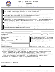 "Form MV210 ""Release of Motor Vehicle Records"" - Montana"