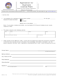 "Form MV26 ""Application for Duplicate License Plate"" - Montana"
