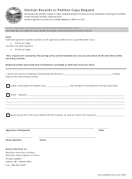 """Election Records or Petition Copy Request Form"" - Montana"