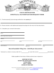 """Apostille or Authentication Request Form"" - Montana"