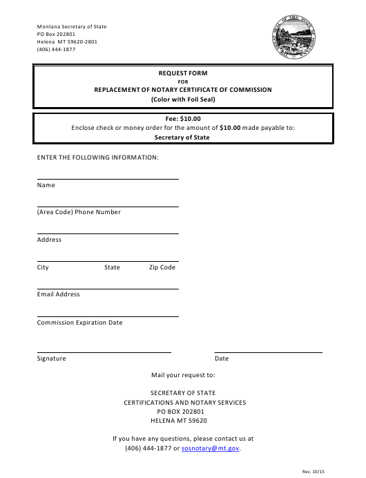 """""""Request Form for Replacement of Notary Certificate of Commission"""" - Montana Download Pdf"""