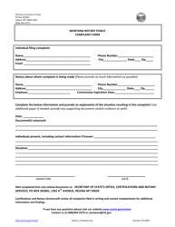 """Montana Notary Public Complaint Form"" - Montana"