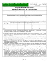 """Registration Statement to Register Securities by Qualification"" - Nebraska"