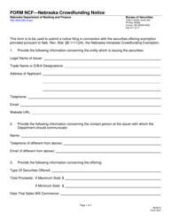 "Form NCF ""Nebraska Crowdfunding Notice"" - Nebraska"