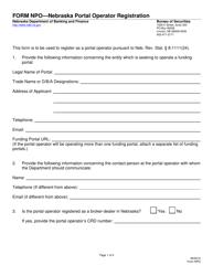"""Form NPO """"Nebraska Portal Operator Registration"""" - Nebraska"""