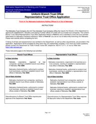"""""""Uniform Branch Trust Office/Representative Trust Office Application/Notice"""" - Nebraska"""