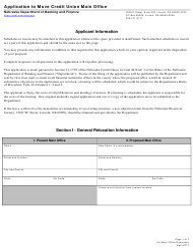 """Application to Move Credit Union Main Office"" - Nebraska"