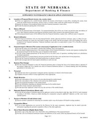 """""""Supplement to Interagency Branch Application/Notice"""" - Nebraska"""