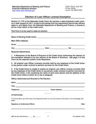 """Election of Loan Officer License Exemption"" - Nebraska"