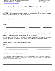 """Revocation of Election of Loan Officer License Exemption"" - Nebraska"