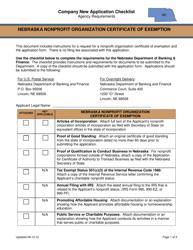 """Nebraska Nonprofit Organization Certificate of Exemption - Company New Application Checklist"" - Nebraska"