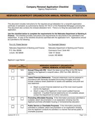 """Nebraska Nonprofit Organization Annual Renewal Attestation - Company Renewal Application Checklist"" - Nebraska"
