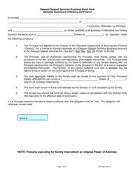"""""""Delayed Deposit Services Business Bond Form"""" - Nebraska"""