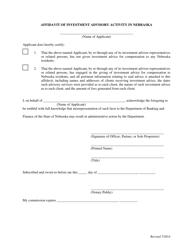 """""""Affidavit of Investment Advisory Activity in Nebraska"""" - Nebraska"""