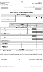"NDE Form 28-036 ""Monthly Claim Form for Reimbursement"" - Nebraska"