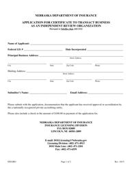 "Form DOI-IRO ""Application for Certificate to Transact Business as an Independent Review Organization"" - Nebraska"