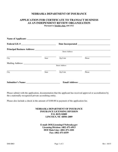 Form DOI-IRO  Printable Pdf