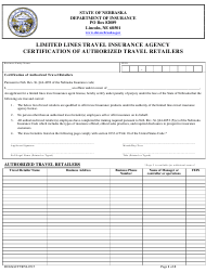 """""""Limited Lines Travel Insurance Agency Certification of Authorized Travel Retailers"""" - Nebraska"""