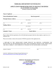 "Form DOI-NAV_IND ""Application for Registration to Transact Business as an Entity Navigator"" - Nebraska"