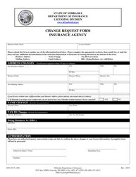 "Form DOI-AGCY_CHG ""Change Request Form Insurance Agency"" - Nebraska"
