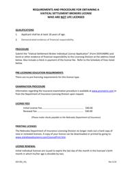 "Form DOIVIABRK0715 ""Viatical Settlement Broker Individual License Application (Not Life Licensed)"" - Nebraska"