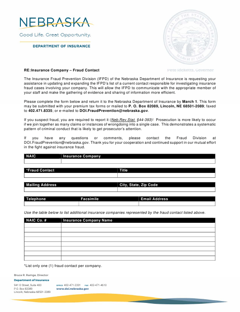 """Insurance Company Fraud Contact Form"" - Nebraska Download Pdf"