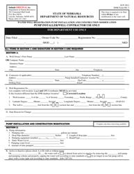 """NeDNR Form 981-3 """"Water Well Registration Pump Installation and Construction Modification"""" - Nebraska"""