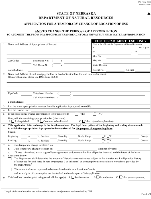 NeDNR SW Form 100 Fillable Pdf