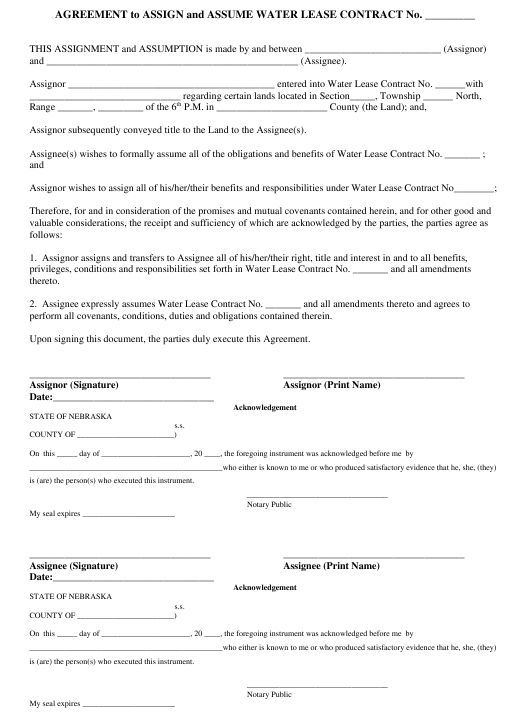"""Agreement to Assign and Assume Water Lease Contract"" - Nebraska Download Pdf"