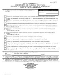 "NeDNR Form 962-12 ""Addendum to Application for a Change of Appropriation - Change in Type of Appropriation"" - Nebraska"